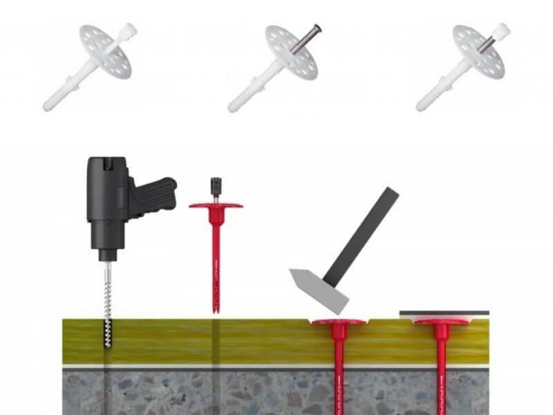 Дюбеля для утеплителя Incept плпластмассовые, с металлическим гвоздём, а также со стальным гвоздём и термоголовкой