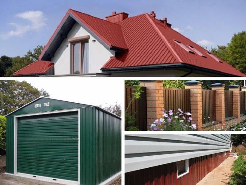 Крыша, фасад, гараж, забор из профнастила МП 20