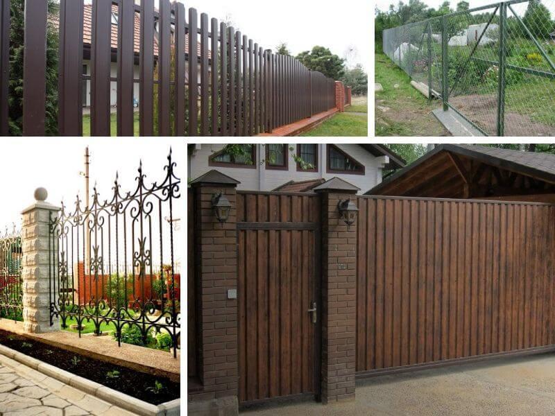 Забор из евроштакетника, забор из сетки, кованный забор, модульный забор